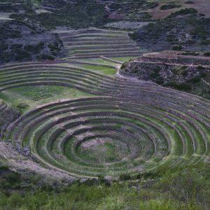 Amérique du Sud, Pérou, Région de Cuzco, Province de Urubamba, Vallée sacrée des Incas, le Centre de Moray, ancien centre de recherche agricole inca